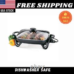 16 Electric Skillet Nonstick Frying Fry Pan Buffet Server With Glass Cover Black