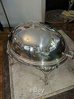 19th C ELKINGTON Silver Plate Domed Roll Top Buffet Server