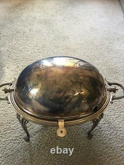19th C English Domed Roll Top Buffet Server Silver Plate by JR&S Sheffield
