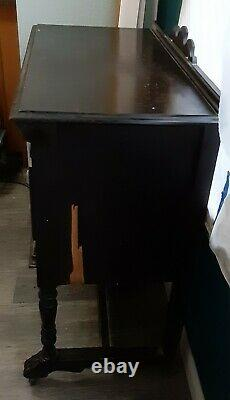 2 Antique early 1900's Ornate Buffet & small Server Sideboard Wood Cabinets