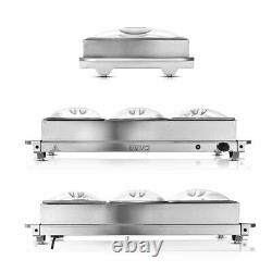 2in1 BUFFET SERVER FOOD WARMER ADJUSTABLE HOT PLATE TRAY S/S STEEL 300W LARGE
