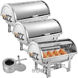 3 Pack Chafing Dish Roll Top Chafer 8 Qt Buffet Server Buffet Wedding Hotel