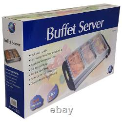 3 X 2.5l Electric Food Warmer Buffet Server Adjustable Temperature Hotplate Tray