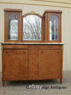 56872 Stunning French Marble Top Curio Cabinet Curio Buffet Server
