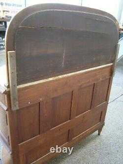 58757 Antique Inlaid Marble Top Sideboard Server Buffet with Mirror