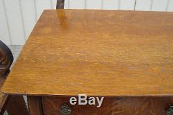 59574 Antique Oak Buffet Sideboard Server with Mirror
