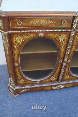 60431 Marble Top Inlaid Buffet Sideboard Server Cabinet