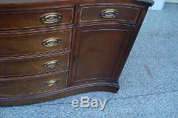 60546 Antique Mahogany Bow Front Buffet Sideboard Server Cabinet