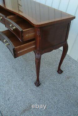60575 Banded Mahogany Chippendale Claw Foot Buffet Sideboard Server Cabinet