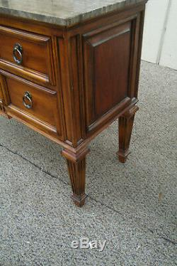 60649 ETHAN ALLEN Marble Top Console Table Server Buffet Cabinet