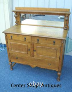 61367 Antique Tiger Oak Buffet Sideboard Server Cabinet with Mirror