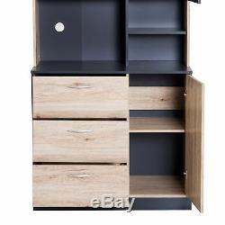 66.5 Kitchen Storage Pantry Cabinet Hutch Buffet Server Microwave with 2 Doors