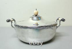 ANTIQUE SILVER PLATE 3-PIECE BUFFET SERVER with BONE HANDLES & PINEAPPLE FINIAL