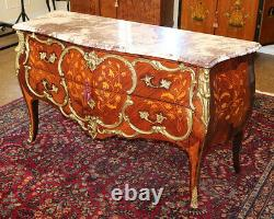 Amazing Italian Mixed Wood Bronze Mounted Marble Top Server Chest Buffet Commode