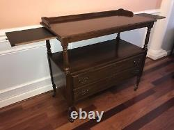 American traditional buffet server, sideboard, caster wheels, 2 drawers, cherry