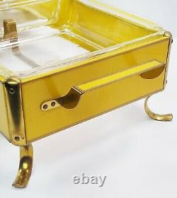 Anchor Hocking Fire King Yellow Double Chafing Dish Heated Buffet Server withLids