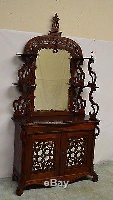 Antique 1800's Carved Walnut Mirrored Sideboard Server Buffet Etagere