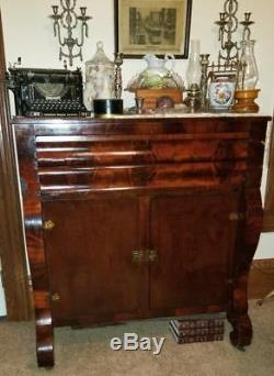 Antique 1848 American Empire Flame Mahogany Sideboard Buffet Server, Top Opens
