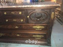 Antique C. 1860 Gorgeous Eastlake Marble Top Hand Carved Pegged Server Buffet