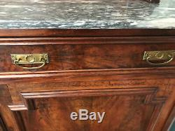 Antique Carved Mid-19th Century Walnut Marble Top Sideboard Server Hutch Buffet
