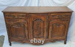 Antique Carved Walnut French Louis XV Buffet Sideboard Server Cabinet LA Area