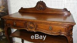 Antique Country French Carved Louis XV Golden Oak Buffet Server Console c1860
