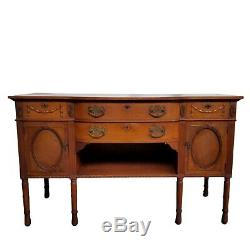 Antique Early 1900s Victorian Carved Oak Sideboard Buffet Server