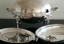 Antique English Sheffield Silverplate Rolling Dome Buffet Server By Walker &hall
