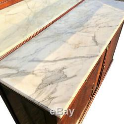 Antique French Art Deco Marble Top Buffet Server with Mirror Back