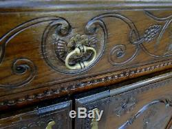 Antique French Carved Brittany Wine Country Buffet Sideboard Server 1880's