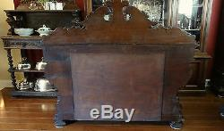 Antique French Carved Oak BARLEY TWIST Sideboard Buffet Table Victorian Server