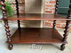 Antique French Carved Oak BARLEY TWIST Sideboard Server Bookcase Buffet Table
