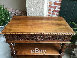 Antique French Carved Oak Barley Twist Renaissance Server Sideboard Buffet Table