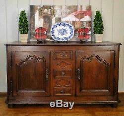 Antique French Country Buffet Sideboard Server 2 Door Carved Key 1800's Provence