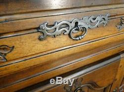 Antique French Country Buffet Sideboard Server Petite CARVED Dark Oak Provence