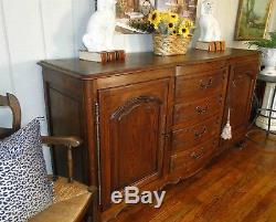 Antique French Country French Buffet Sideboard Server Dark Oak Provence Carving