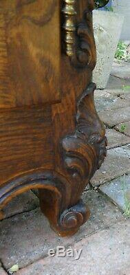 Antique French Country Louis XV Buffet Server Sideboard 4 Door Carved Oak Shell