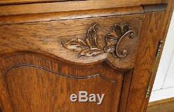 Antique French Country Louis XV Buffet Sideboard Server 4 Door Carved Oak Shell
