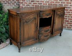 Antique French Country Oak Louis XV Bow Front Server Buffet Sideboard Cupboard