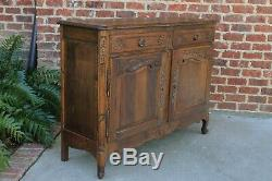 Antique French Country Sideboard Cabinet Buffet Server w Drawers Oak Louis XV