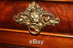 Antique French Empire Flame Mahogany Sideboard Console Buffet Chest Server 77.5W