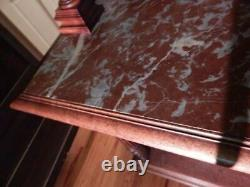Antique French Renaissance Mahogany Marble Top Dessert Server Buffet Sideboard