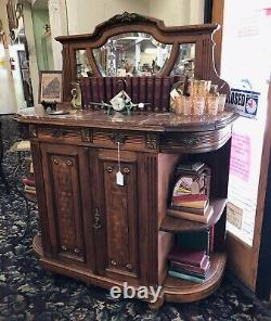Antique French Server Buffet with Mirror and Marble Top