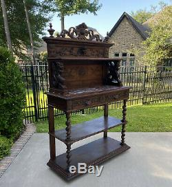Antique French Sideboard Server Buffet Cabinet Barley Twist Marble Top Drawers