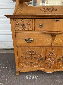 Antique Golden Oak Buffet / Server With Beveled Mirror Ornate Carvings