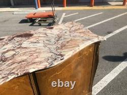 Antique Italian Marble Top Walnut Large Server Buffet, Credenza