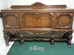 Antique Jacobean Dining Buffet Sideboard Cabinet Server Walnut Spanish Revival