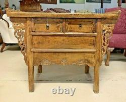 Antique Large Chinese Altar Table Chest Buffet Bar Cabinet Server Sideboard Elm