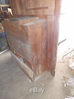 Antique Large Oak Recessed Buffet Cabinet Cupboard Server Old Victorian 4182-15