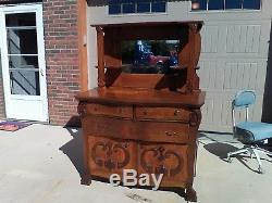 Antique Light Oak Buffet Server Sideboard withMirror 3 drawers Ornate Wood Front